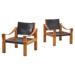 Pierre Chapo Set of 2 Grand Lounge Chairs in Patinated Black Leather
