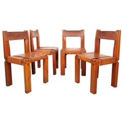 Pierre Chapo, Set of 4 Dining Chairs, Model S11, Elm and Leather, France 1970