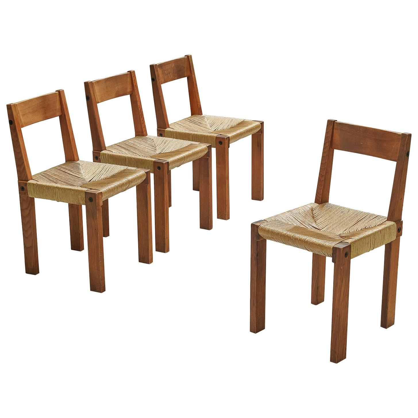 Pierre Chapo Set of 4 Dining Chairs Model S24 Elm and Rush