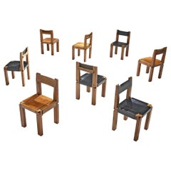Pierre Chapo Set of Eight Dining Chairs Model S11, Elm and Leather, France, 1966