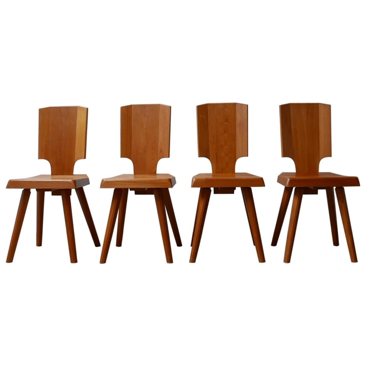 Pierre Chapo Set of Four S28 Elm Midcentury French Dining Chairs '4-6'