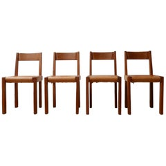 Pierre Chapo Set of S24 Mid-Century French Elm and Leather Dining Chairs '4'