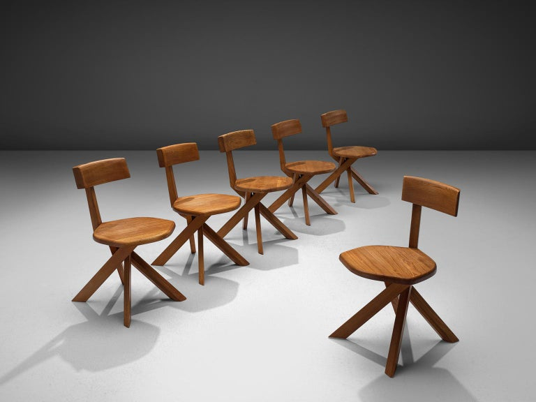 French Pierre Chapo Set of Seven S34 Dining Chair in Solid Elm For Sale