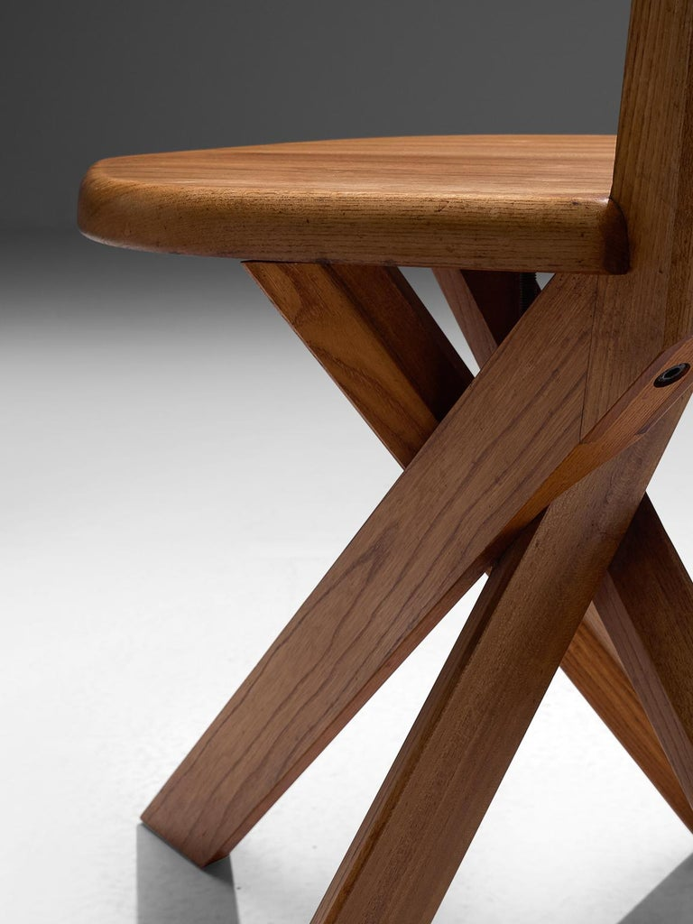 Pierre Chapo Set of Seven S34 Dining Chair in Solid Elm For Sale 1