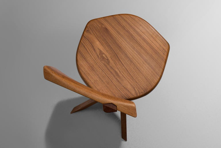 Pierre Chapo Set of Seven S34 Dining Chair in Solid Elm For Sale 2