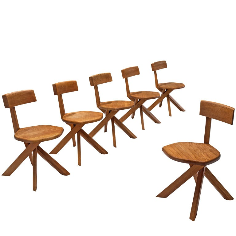 Pierre Chapo Set of Seven S34 Dining Chair in Solid Elm For Sale