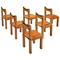 Pierre Chapo Set of Six Dining Chairs Model 'S11' in Patinated Cognac Leather