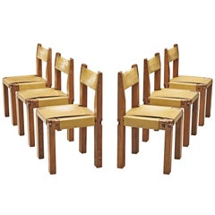 Pierre Chapo Set of Six Dining Chairs 'S11' in Solid Elm and Yellow Leather