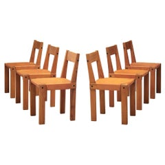 Pierre Chapo Set of Six 'S24' Chairs in Solid Elm and Cognac Leather