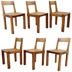 """Pierre Chapo Set of Six """"S24"""" Wood and Leather Dining Chairs, France, 1960s"""