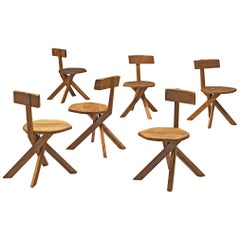 Pierre Chapo Set of Six S34 Dining Chair in Solid Elm