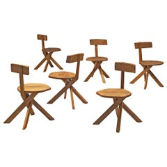 Pierre Chapo Set of Six S34 Dining Chairs in Solid Elm