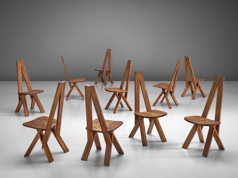 Set of ten 'Chlacc' chairs, in elm, by Pierre Chapo, France, circa 1979.