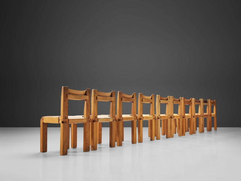 French Pierre Chapo Set of Ten 'S11' Chairs in Cognac Leather For Sale