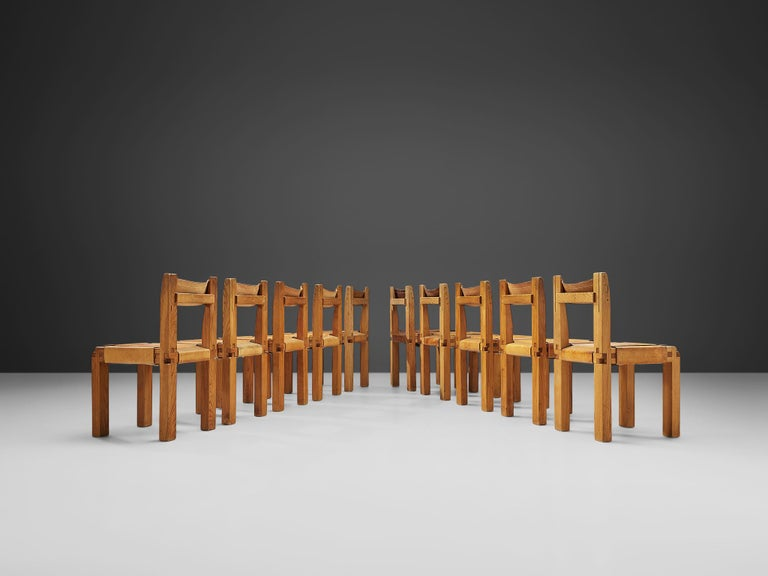 Pierre Chapo Set of Ten 'S11' Chairs in Cognac Leather In Good Condition For Sale In Waalwijk, NL