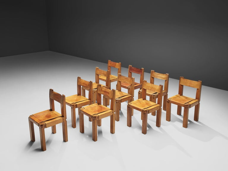 Pierre Chapo Set of Ten 'S11' Chairs in Cognac Leather For Sale 2