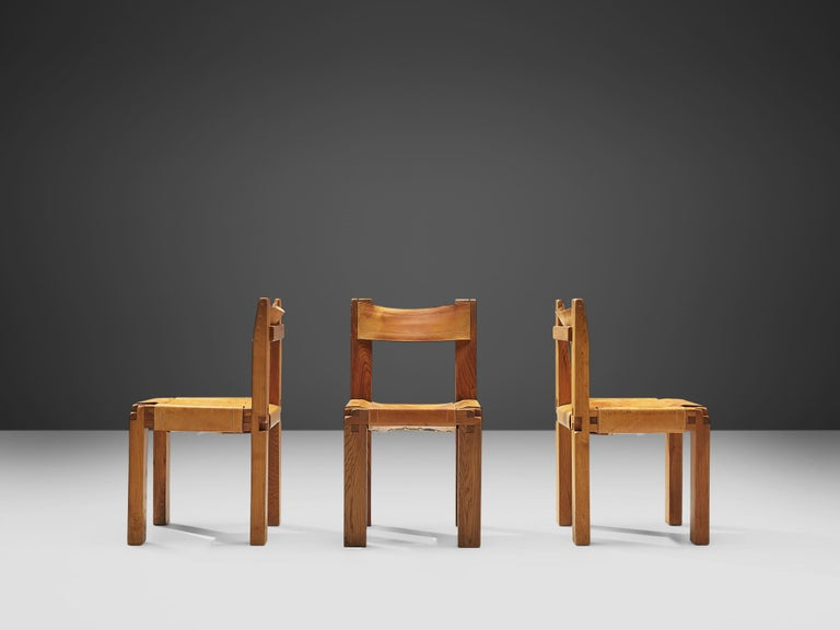 Pierre Chapo Set of Ten 'S11' Chairs in Cognac Leather For Sale 1