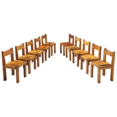 Pierre Chapo Set of Ten 'S11' Chairs in Cognac Leather