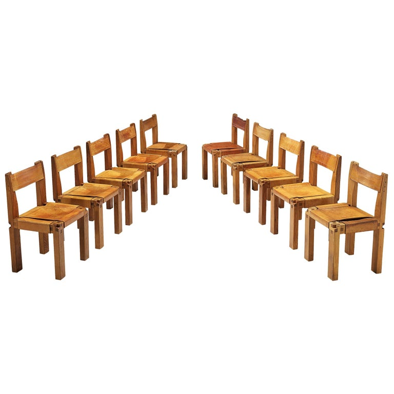 Pierre Chapo Set of Ten 'S11' Chairs in Cognac Leather For Sale