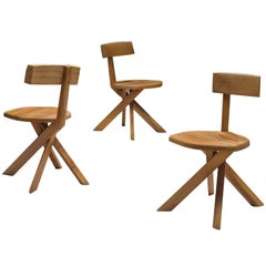 Pierre Chapo Set of Three Asymmetrical Chairs in Elm