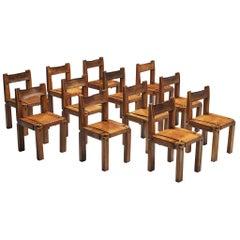 Pierre Chapo Set of Twelve 'S11' Chairs in Cognac Leather