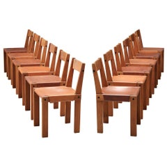 Pierre Chapo Set of Twelve 'S24' Chairs in Solid Elm and Cognac Leather