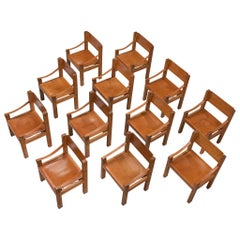 Pierre Chapo Set of Twelve S371 Chairs in Cognac Leather