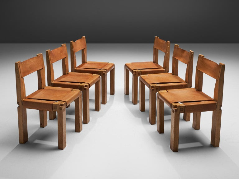 French Pierre Chapo Six Dining Chairs in Solid Elm and Cognac Leather For Sale