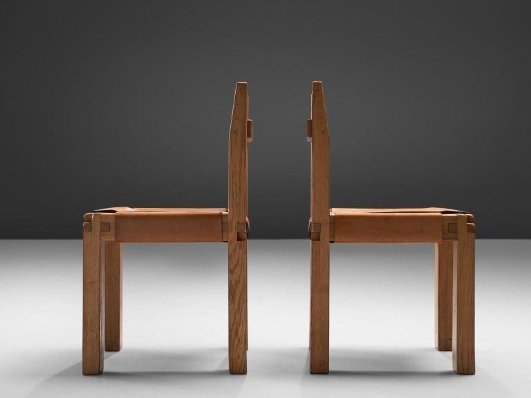 Pierre Chapo Six Dining Chairs in Solid Elm and Cognac Leather In Good Condition For Sale In Waalwijk, NL