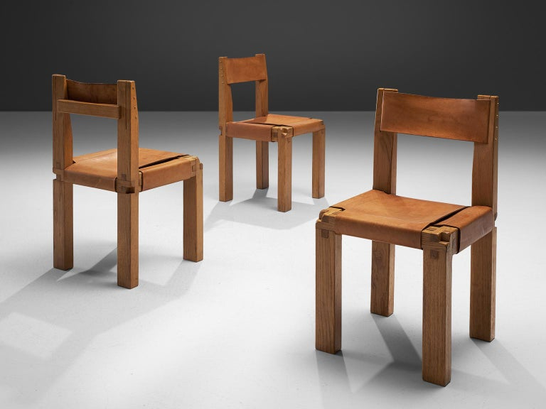 Mid-20th Century Pierre Chapo Six Dining Chairs in Solid Elm and Cognac Leather For Sale