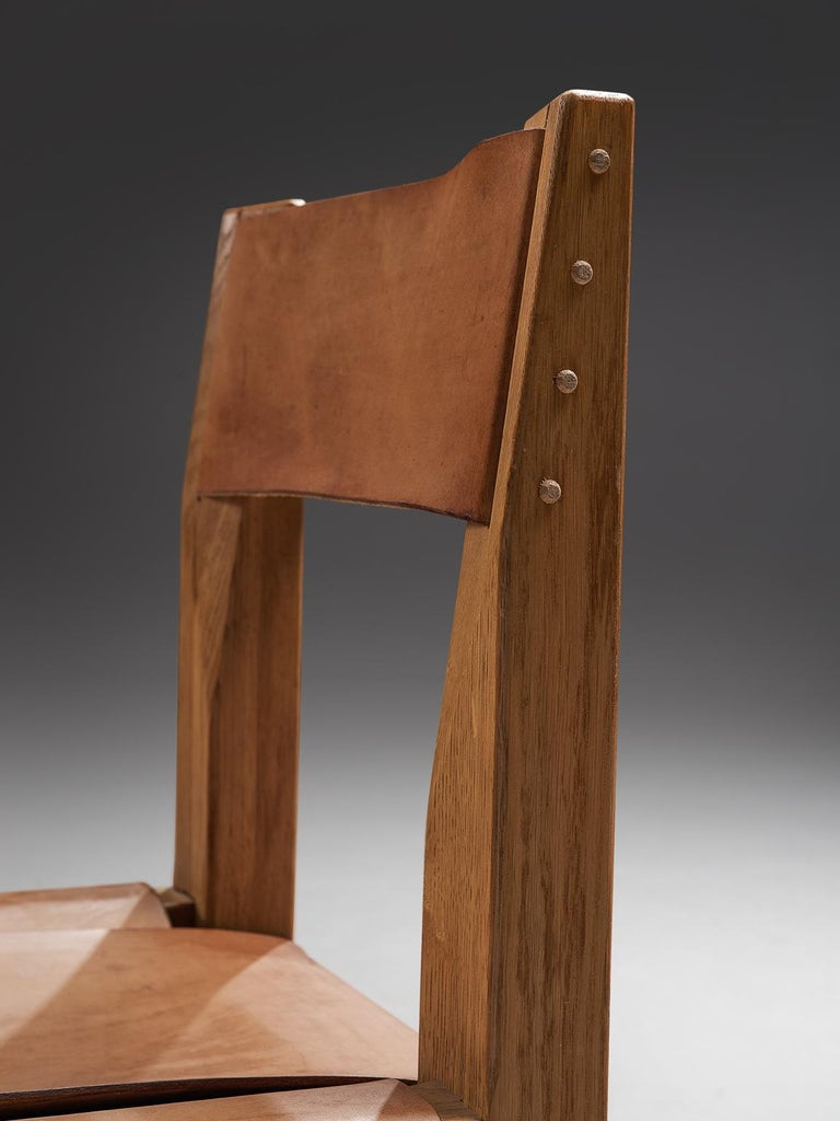 Pierre Chapo Six Dining Chairs in Solid Elm and Cognac Leather For Sale 1