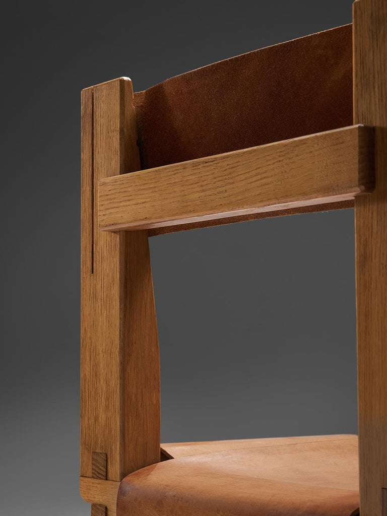 Pierre Chapo Six Dining Chairs in Solid Elm and Cognac Leather For Sale 3