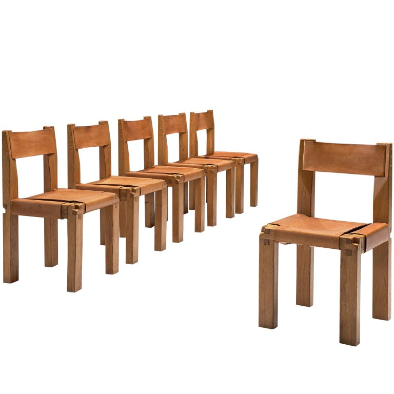 Pierre Chapo Six Dining Chairs in Solid Elm and Cognac Leather For Sale