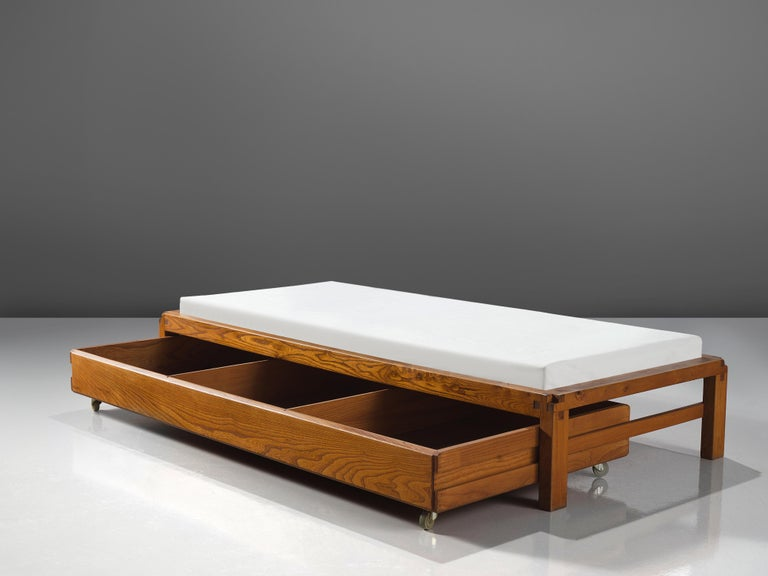Mid-Century Modern Pierre Chapo Solid Elm Bed L03, circa 1965 For Sale