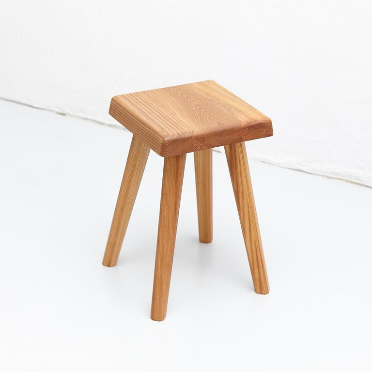 Mid-Century Modern Pierre Chapo Solid Elmwood French Stool