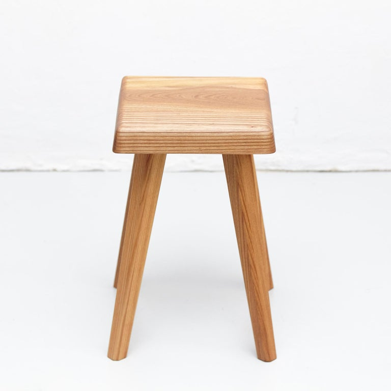Contemporary Pierre Chapo Solid Elmwood French Stool