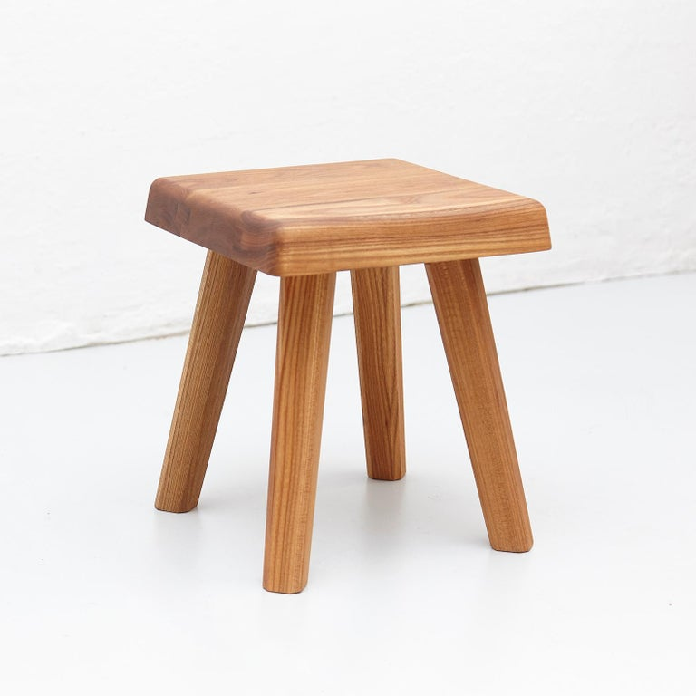 Stool designed by Pierre Chapo in 1960s.  Manufactured by Creation Chapo in France in 2019.  Solid elmwood.  In good original condition, with minor wear consistent with age and use, preserving a beautiful patina.  Pierre Chapo is born in a