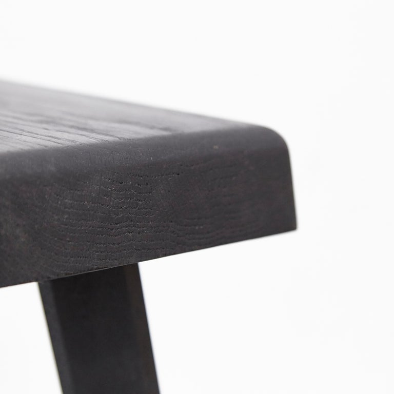 Pair of Pierre Chapo Special Black Wood Edition Stool 4