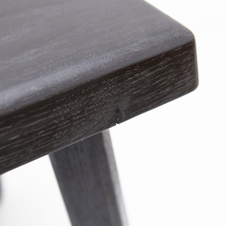 Pair of Pierre Chapo Special Black Wood Edition Stool 6
