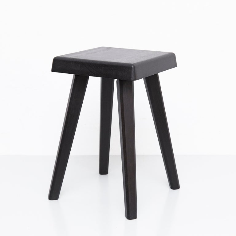 Pair of Pierre Chapo Special Black Wood Edition Stool 7