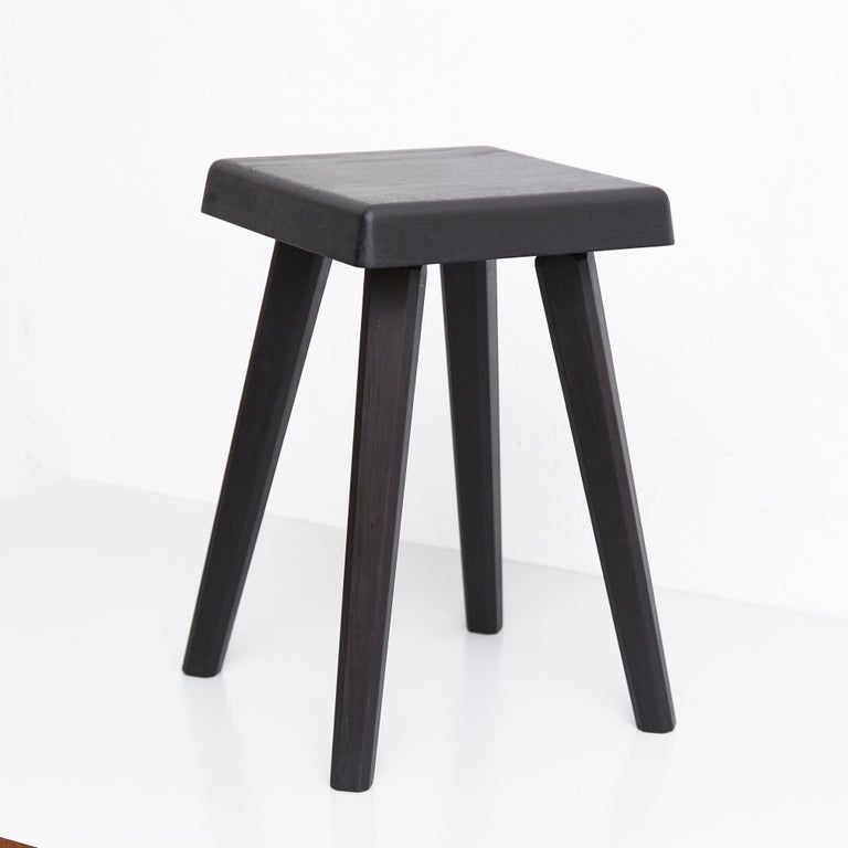 Pair of Pierre Chapo Special Black Wood Edition Stool 8