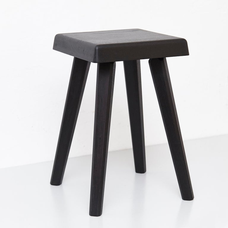 Pair of Pierre Chapo Special Black Wood Edition Stool 9