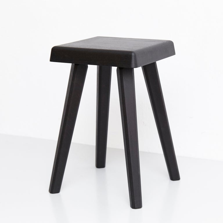 Pair of Pierre Chapo Special Black Wood Edition Stool 10