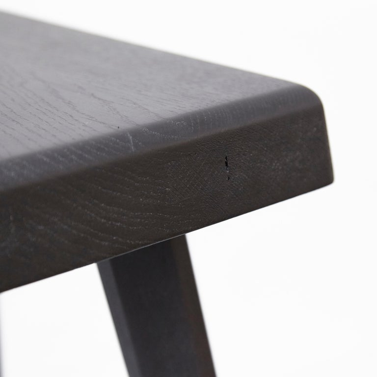 Pair of Pierre Chapo Special Black Wood Edition Stool 11