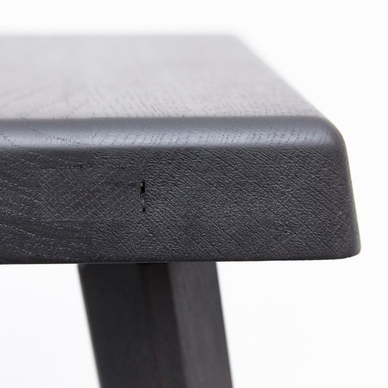 Pair of Pierre Chapo Special Black Wood Edition Stool 12