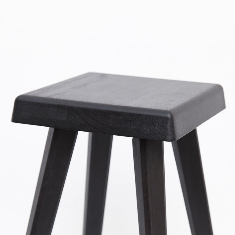 Pair of Pierre Chapo Special Black Wood Edition Stool 13