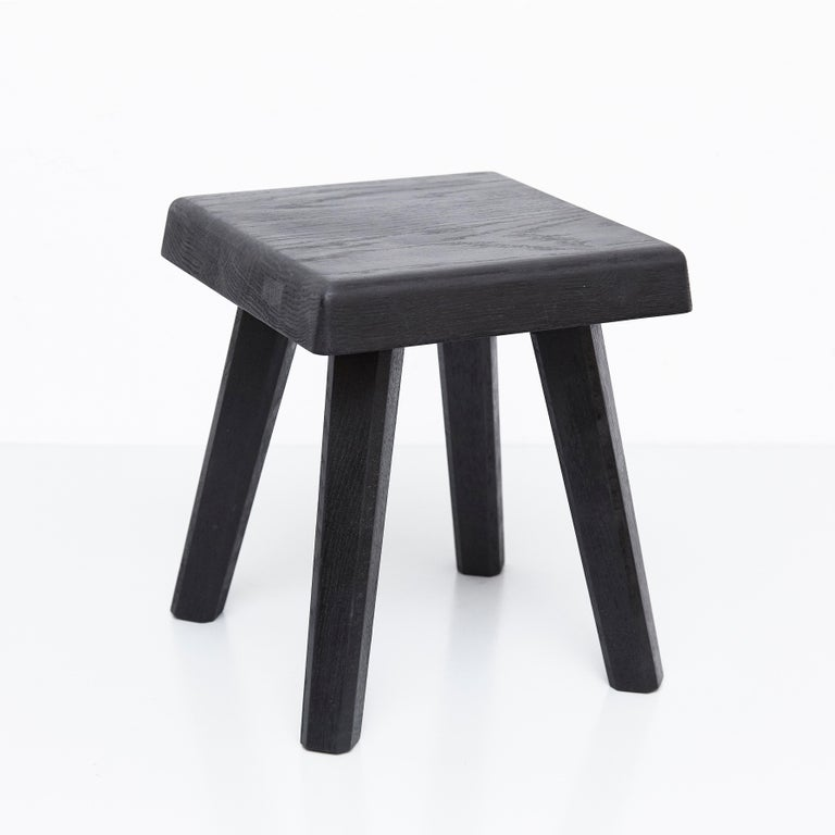Stool designed by Pierre Chapo in 1960s. Manufactured in France in 2019  Solid oakwood. Small : 29 x 29 x 33 cm Tall : 29 x 29 x 45 cm In good original condition, with minor wear consistent with age and use, preserving a beautiful patina.  Pierre