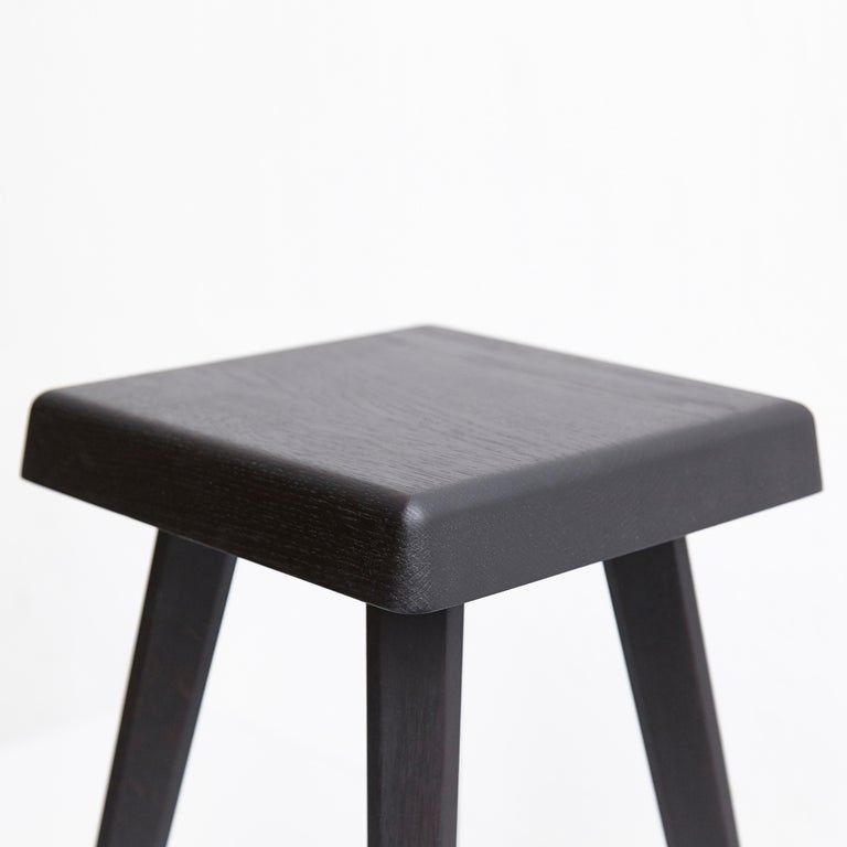Pair of Pierre Chapo Special Black Wood Edition Stool 14
