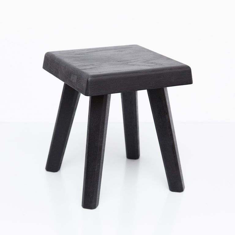 Mid-Century Modern Pair of Pierre Chapo Special Black Wood Edition Stool