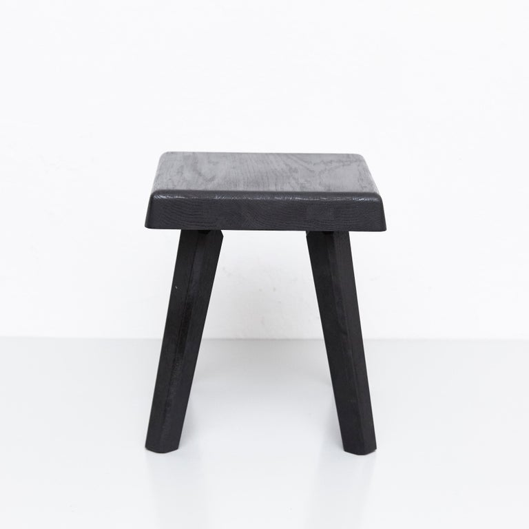 French Pair of Pierre Chapo Special Black Wood Edition Stool
